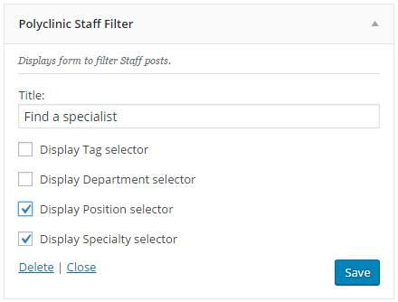 Staff Filter widget setup
