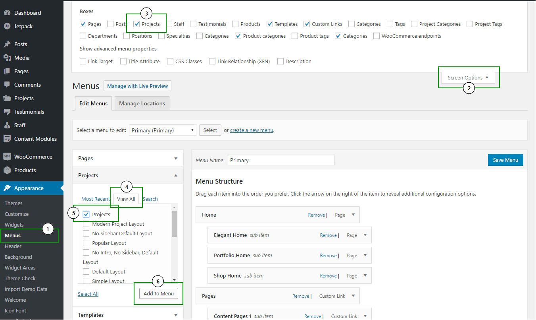 Adding custom post type archive link to menu.