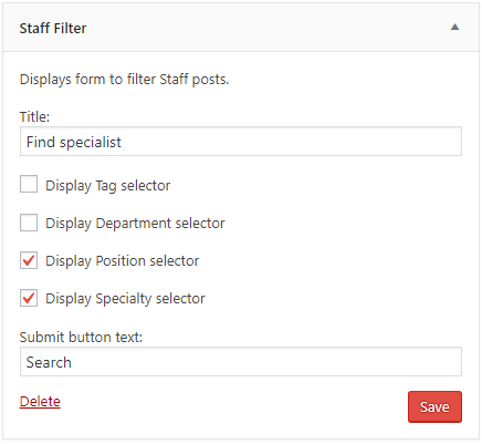 Staff Filter widget setup