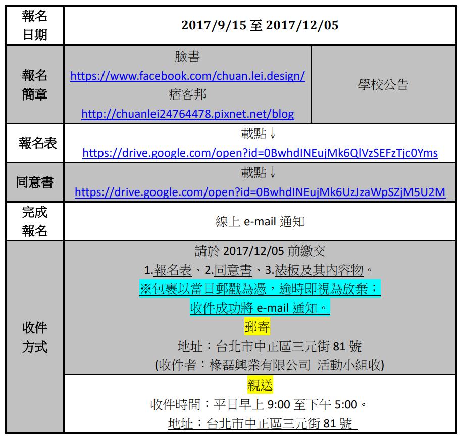 報名 日期 2017/9/15 至 2017/12/05 報名 簡章 臉書 https://www.facebook.com/chuan.lei.design/ 痞客邦 http://chuanlei24764478.pixnet.net/blog 學校公告 報名表 載點↓ https://drive.google.com/open?id=0BwhdINEujMk6QlVzSEFzTjc0Yms 同意書 載點↓ https://drive.google.com/open?id=0BwhdINEujMk6UzJzaWpSZjM5U2M 完成 報名 線上 e-mail 通知 收件 方式 請於 2017/12/05 前繳交 1.報名表、2.同意書、3.裱板及其內容物。 ※包裹以當日郵戳為憑,逾時即視為放棄; 收件成功將 e-mail 通知。 郵寄 地址:台北市中正區三元街 81 號 (收件者:椽磊興業有限公司 活動小組收) 親送 收件時間:平日早上 9:00 至下午 5:00。 地址:台北市中正區三元街 81 號