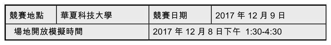 (4)華夏科技大學賽場(比賽項目 D01-D11,自走車避障、雙足機器人 3 米障礙跑……等) 競賽地點 華夏科技大學 競賽日期 2017 年 12 月 9 日 場地開放模擬時間 2017 年 12 月 8 日下午 1:30-4:30