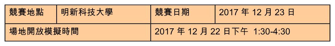 (6)明新科技大學賽場(比賽項目 E01-E11,自走車撞球、遙控輪型機器人擂台……等) 競賽地點 明新科技大學 競賽日期 2017 年 12 月 23 日 場地開放模擬時間 2017 年 12 月 22 日下午 1:30-4:30
