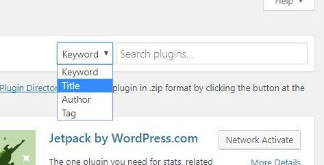 WordPress dashboard add new plugin screen suggestion