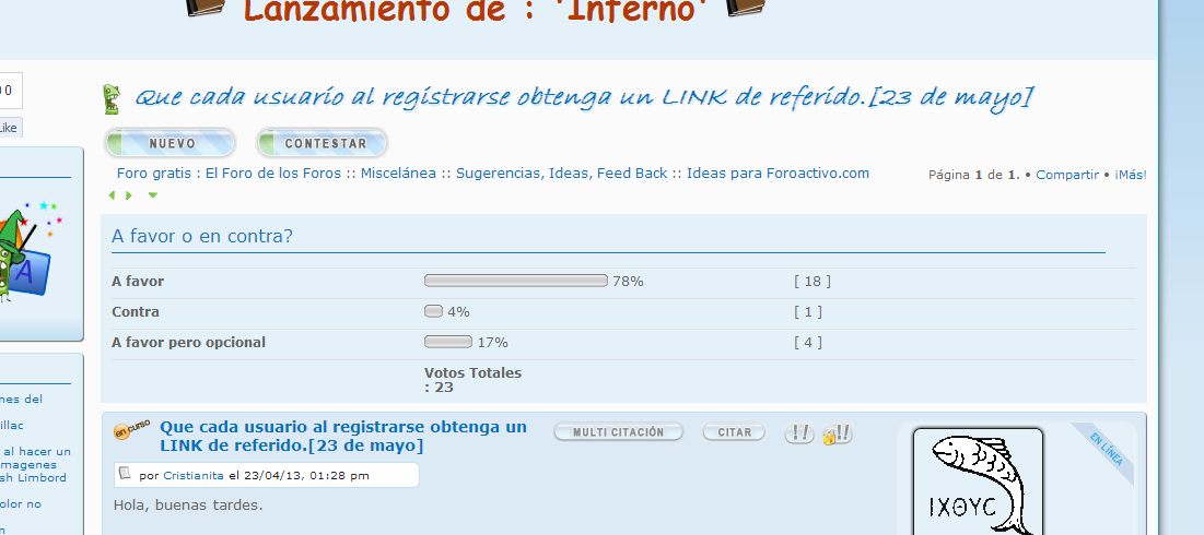 Que cada usuario al registrarse obtenga un LINK de referido.[23 de mayo] 5507539534
