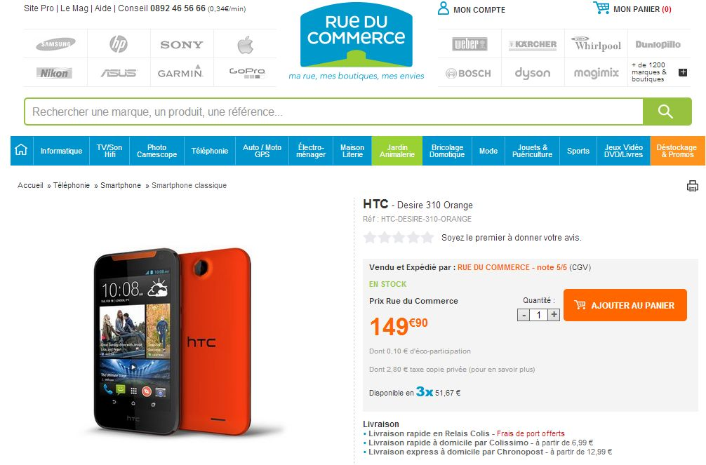 HTC Desire 310, HTC Desire 310 : 149€ en France