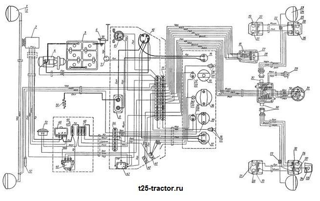 Электрооборудование колёсного трактора Т-25 и его схема