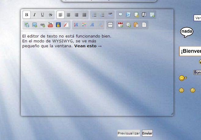 El área para escribir es más pequeña que la ventana del editor de texto, en los dos modos de edición. 0421388291