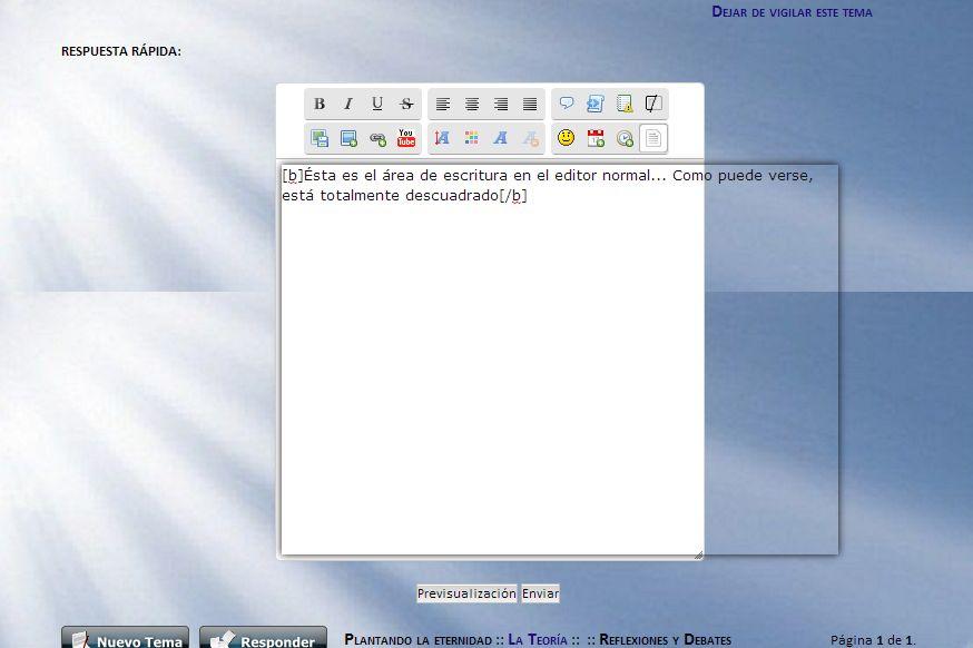 El área para escribir es más pequeña que la ventana del editor de texto, en los dos modos de edición. 6950691378