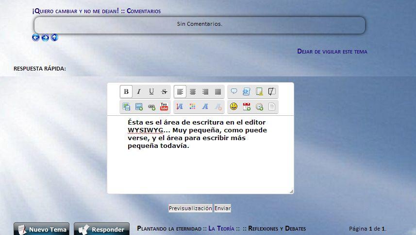 El área para escribir es más pequeña que la ventana del editor de texto, en los dos modos de edición. 8126087157