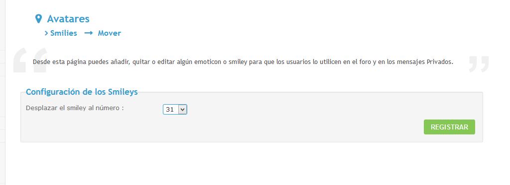 Al agregar un smiley (emoticón), que aparezca el número de orden donde colocarlo en la misma página[17/2/2017] 1491352838
