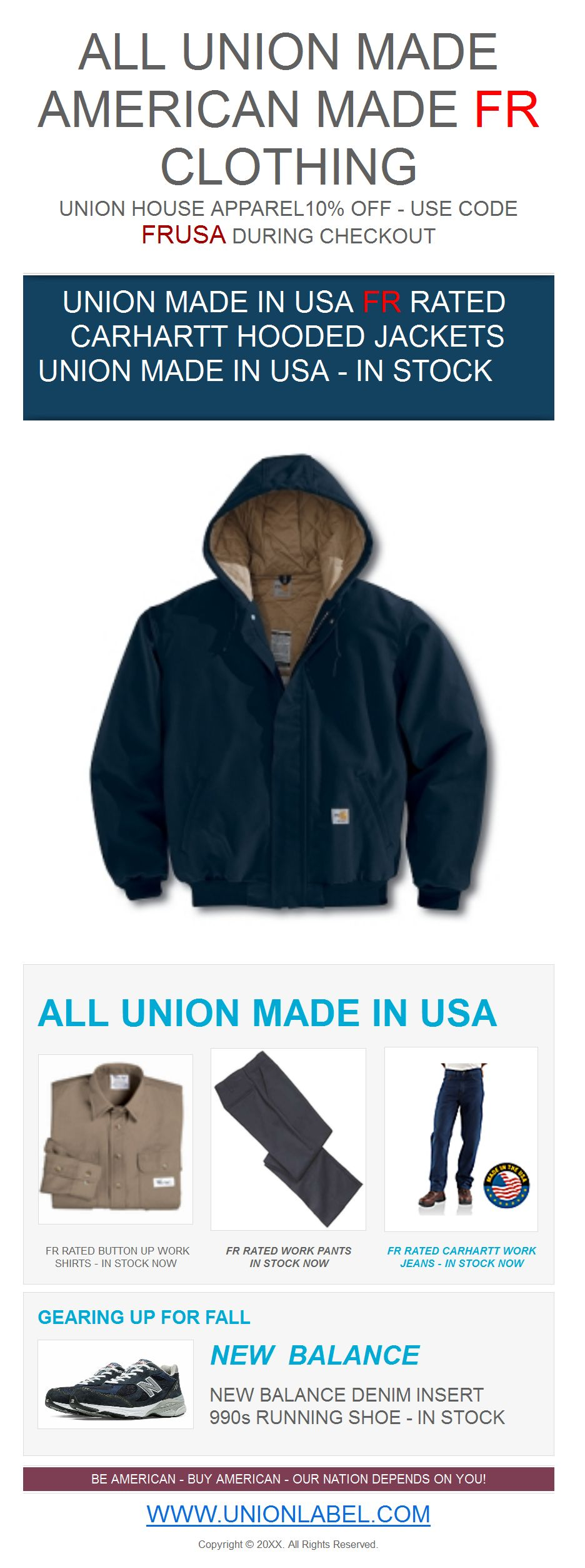 10% OFF ALL FR CLOTHING – UNION MADE IN USA